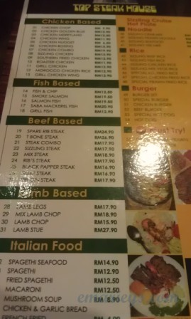 Menu steak house